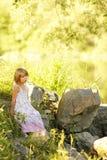 Beautiful little girl on nature Stock Photo