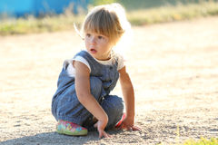 Beautiful little girl on nature Royalty Free Stock Photos
