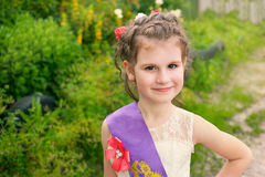 Beautiful little girl outdoor. Portrait of smiling beautiful small girl outdoor Royalty Free Stock Photo