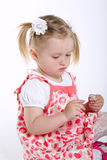 Beautiful little girl painted nails Stock Photo