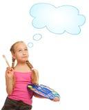 Beautiful little girl painting stock image