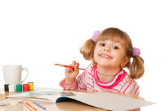 Beautiful Little Girl Painting Stock Photos