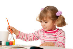 Beautiful Little Girl Painting Stock Images