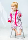 Beautiful little girl in pajama Stock Images