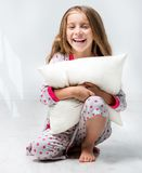 Beautiful little girl in pajama Stock Photos
