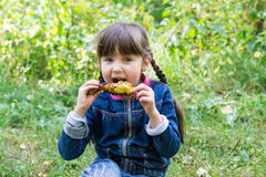 Beautiful little girl at the picnic eating a chicken leg Stock Image