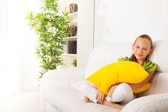 Beautiful little girl with pillow Royalty Free Stock Photography