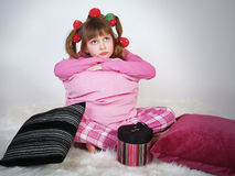 Beautiful little girl with pillows Royalty Free Stock Images