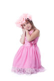 Beautiful little girl in pink dress and garland Stock Images