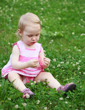 Beautiful little girl in pink dress is sitting on green lawn wit Stock Images