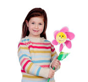 Beautiful little girl with a pinwheel Royalty Free Stock Photos