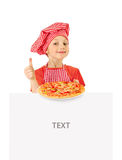 Beautiful little girl with pizza Stock Image