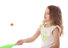Beautiful little girl playing with ball. Royalty Free Stock Image