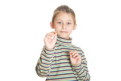 Beautiful little girl playing darts Royalty Free Stock Image