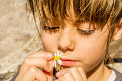 Beautiful little girl playing with flower Royalty Free Stock Photo