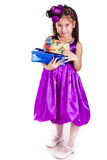 Beautiful little girl with presents Stock Images