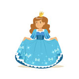 Beautiful little girl princess in a blue ball dress and golden crown, fairytale costume for party or holiday vector Stock Photo