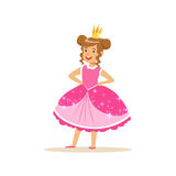 Beautiful little girl princess in a dark pink ball dress and golden tiara, fairytale costume for party or holiday. Vector Illustration isolated on a white Stock Images