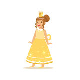 Beautiful little girl princess in a gold ball dress and golden tiara, fairytale costume for party or holiday vector Royalty Free Stock Photography