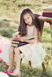 Beautiful little girl reading a book royalty free stock photography