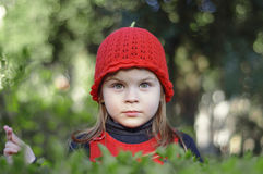 Beautiful little girl, with red cap in green plantations. Girl in the park among the bushes Royalty Free Stock Image