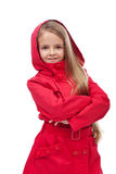 Beautiful little girl with red coat Royalty Free Stock Photography