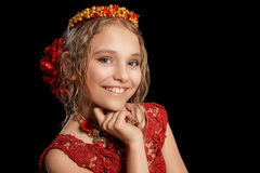 Beautiful  little girl in red dress Royalty Free Stock Photos