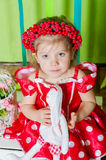 Beautiful little girl in a red dress Royalty Free Stock Photo