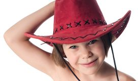 Beautiful little girl in a red hat Royalty Free Stock Photos