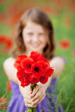 Beautiful little girl with red poppies Stock Photography