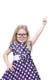 Beautiful little girl showing on something by finger isolated Royalty Free Stock Photos