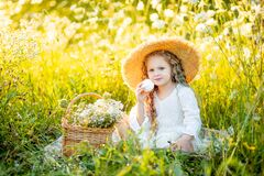 Beautiful little girl sitting in a straw hat in a field and eating a bagel, picnic in a field