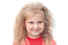 Beautiful little girl smile. On a white background Stock Photography