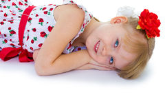 Beautiful little girl with a smile looking Royalty Free Stock Image
