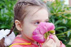 Beautiful Little Girl Sniffs Peony Flower in a Garden Stock Image