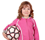 Beautiful little girl with soccer ball Stock Photo