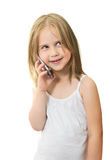 Beautiful Little Girl  Speaks on the Mobile Phone Royalty Free Stock Photography
