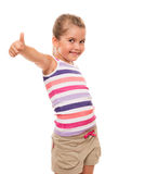 Beautiful little girl standing on white and showing OK sign Stock Images