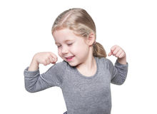 Beautiful little girl stretching her arms to wake up isolated Stock Photography
