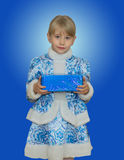 Beautiful little girl in suit Snow Maiden. Stock Image