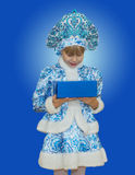 Beautiful little girl in suit Snow Maiden. Royalty Free Stock Photography