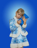 Beautiful little girl in suit Snow Maiden. Royalty Free Stock Photo