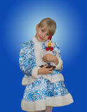 Beautiful little girl in suit Snow Maiden. Stock Images