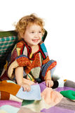 Beautiful little girl in suitcase Royalty Free Stock Image