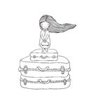 Beautiful little girl on the suitcase. Royalty Free Stock Image