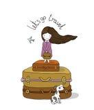 Beautiful little girl on the suitcase. Stock Photos