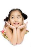 Beautiful little girl in summer dress stock image