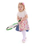 Beautiful little girl tennis player Royalty Free Stock Photo