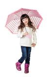 Beautiful little girl with umbrella. Isolated on white background Royalty Free Stock Photo