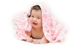 Beautiful little girl under towel Royalty Free Stock Photo